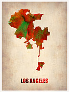 California Map Framed Prints - Los Angeles Watercolor Map Framed Print by Irina  March