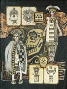Folk Art Mixed Media - Los Indios by Candy Mayer