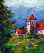 Church Prints Paintings - Los Ojos Mission by Dyan Newton
