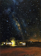 Nocturnal Paintings - Los Rancheros RV Park by Leah Saulnier The Painting Maniac