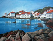 Red-roofed Buildings Prints - Loshavn Print by Janet King