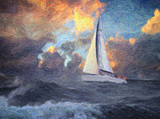 Sailboat Ocean Paintings - Lost at Sea by Taylan Soyturk