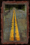 Yellow Line Photo Framed Prints - Lost Highway Framed Print by John Stephens
