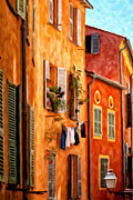 Old Buildings Paintings - Lost in Cagnes by Michael Pickett
