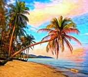 Coconut Trees Paintings - Lost in Paradise by Michael Pickett