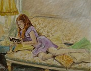 Young Girl Reading Paintings - Lost in Suspense by Veronica Coulston