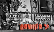 Tibetan Buddhism Photo Metal Prints - Lost in Times Square Metal Print by Lee Dos Santos