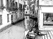 Canals Drawings Framed Prints - Lost in Venice Framed Print by Greg Lindberg
