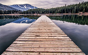 Mountain Reflection Lake Summit Mirror Framed Prints - Lost Lake Dock Framed Print by James Wheeler
