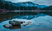 Mountain Reflection Lake Summit Mirror Framed Prints - Lost Lake Framed Print by James Wheeler