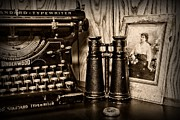 Antique Typewriter Posters - Lost Love in black and white Poster by Paul Ward