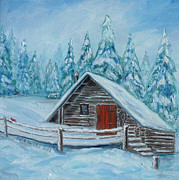 Mountain Cabin Paintings - Lost Mountain Cabin by Julie Brugh Riffey