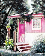 Austin Drawings - Lost Parrot Cabin by Peni Baker