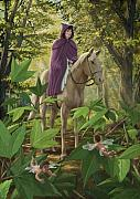 Woman In Cape Prints - Lost Princess On Horseback Print by Martin Davey