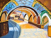 Locations Painting Prints - Lost Subway Print by Rebecca Myones Negrin