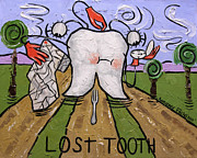 Large Digital Art Posters - Lost Tooth Poster by Anthony Falbo
