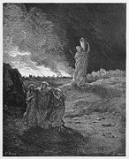 Orthodox Drawings Prints - Lot and his family flee from Sodom  Print by Oprea Nicolae