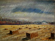 Bales Pastels - Lots of Bales by Tim  Swagerle