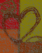Earth Tone Mixed Media Metal Prints - Lots of Love Metal Print by Lj Lambert