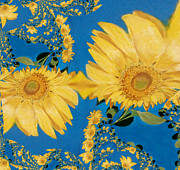 Turquoises Framed Prints - Lots of Sunflowers Framed Print by Jamie Frier