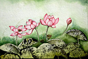 Lotus Bud Paintings - Lotus-1 by Sucheta Misra