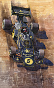 Sport Painting Framed Prints - Lotus 72 Canadian GP 1972 Emerson Fittipaldi  Framed Print by Yuriy  Shevchuk