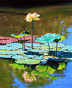 Lotus Pond Paintings - Lotus Above the Lily Pads by John Lautermilch