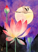 Original Watercolor Painting Posters - Lotus And Crane Poster by Robert Hooper