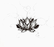 Water Flowing Drawings Posters - Lotus Poster by Andrea Carroll