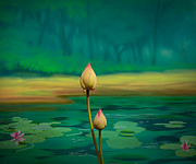 Lotus Buds Print by Bedros Awak