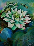 Lotus Dragon Fly C Print by Min Wang