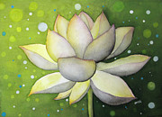 White Waterlily Paintings - Lotus Dream by Oiyee  At Oystudio