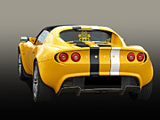 Lotus Racecar Prints - Lotus Elise in Yellow Print by Gill Billington