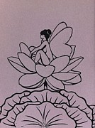 Fantasy Reliefs Prints - Lotus Fairy Print by Mary Clare Castor