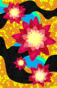 Flower Bombs Print Posters - Lotus Flower Bombs In Magenta Poster by Kenal Louis