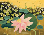Pad Paintings - Lotus Flower by Marie Hugo