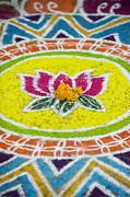Indian Art Prints - Lotus flower Rangoli Print by Tim Gainey