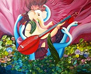 Lotus Leaves Paintings - Lotus Ganesha by Rupa Prakash