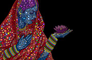Namaste Metal Prints - Lotus Girl Metal Print by Tim Gainey