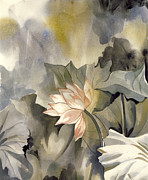 Lotus And Waterlily Paintings - Lotus In Bloom by Alfred Ng