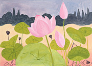 Tropical Flower Painting Posters - Lotus in the Garrigue Poster by Marie Hugo