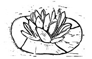 Linoleum Mixed Media - Lotus by Lynn-Marie Gildersleeve