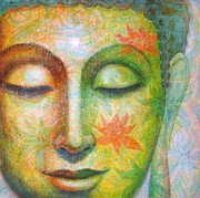 Buddhist Painting Originals - Lotus Meditation Buddha by Sue Halstenberg