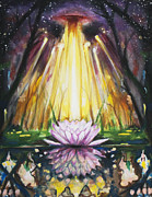 Sun Rays Painting Framed Prints - Lotus Omega Framed Print by Christine  Webb