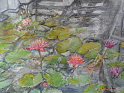 Reflections Of Building In Water Prints - Lotus Pond at Bayfront Singapore Print by Linda Wan