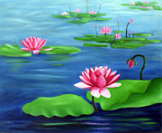 Lotus Bud Paintings - Lotus Pond by Suhas Guntuku