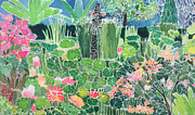 Tropical Plant Paintings - Lotus Pond Ubud Bali by Hilary Simon