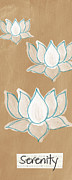 Brown Mixed Media Posters - Lotus Serenity Poster by Linda Woods