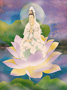 Goddess Digital Art Prints - Lotus-sitting Avalokitesvara Print by Lanjee Chee