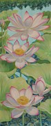 Lotus Leaves Paintings - Lotus Symphony  by Bonnie Golden
